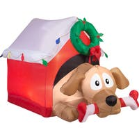 Gemmy Airblown Inflatables Animated Dog in Presents With Candy Cane Bone
