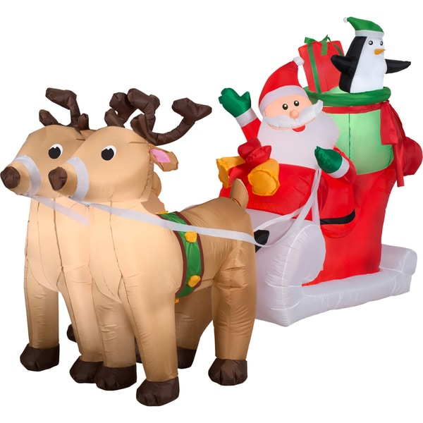 Gemmy Airn Inflatables Santa With Sleigh And Reindeer Scene