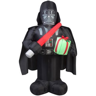 Gemmy Airblown Inflatables Darth Vader With Light Saber and Present