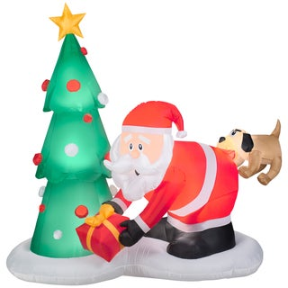 Gemmy Airblown Inflatables Multicolor Plastic Santa and Dog Scene
