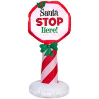 Gemmy Airblown Inflatables Multicolor Plastic/Metal/Synthetic Fiber Santa Stop Here