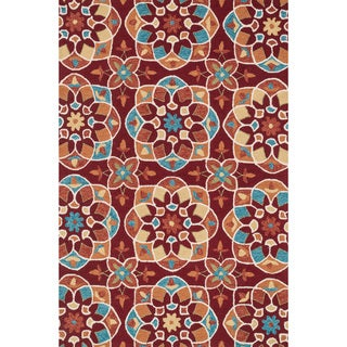 Hand-hooked Charlotte Red/ Spice Kaleidoscope Rug (7'6 x 9'6)