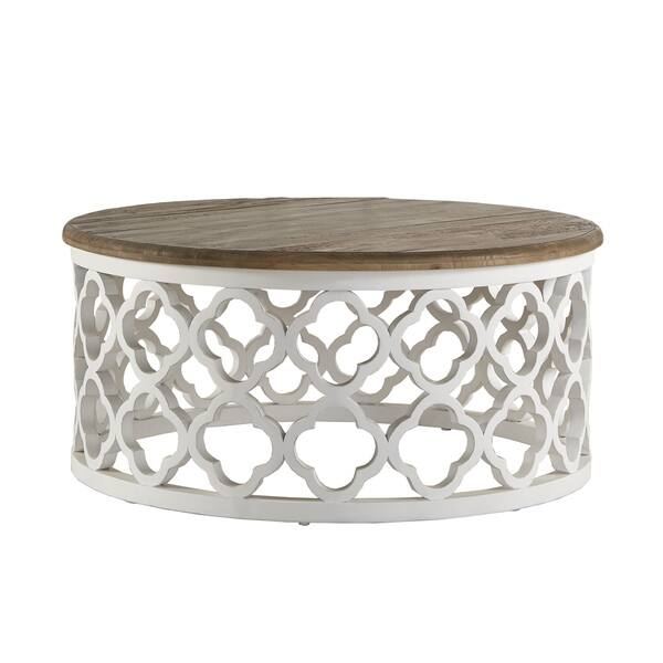 Vince Reclaimed Wood Moroccan Trellis Drum Coffee Table By Inspire Q Artisan Overstock 12108714