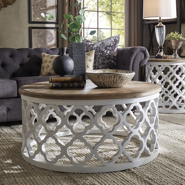 Elegant Vince Reclaimed Wood Moroccan Trellis Drum Coffee Table By INSPIRE Q Artisan