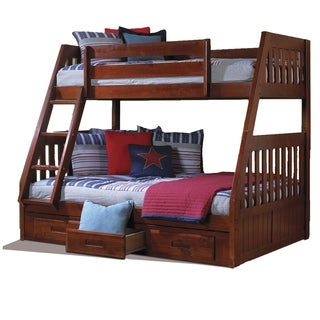 Merlot Pine Wood Twin-over-Full Bunk Bed with Drawers and Matching Entertainment Dresser