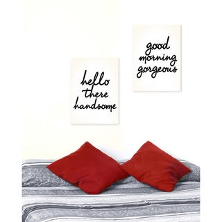 lulusimonSTUDIO 'Hello There Good Morning' Glam Two-piece Wall Plaque Art Set