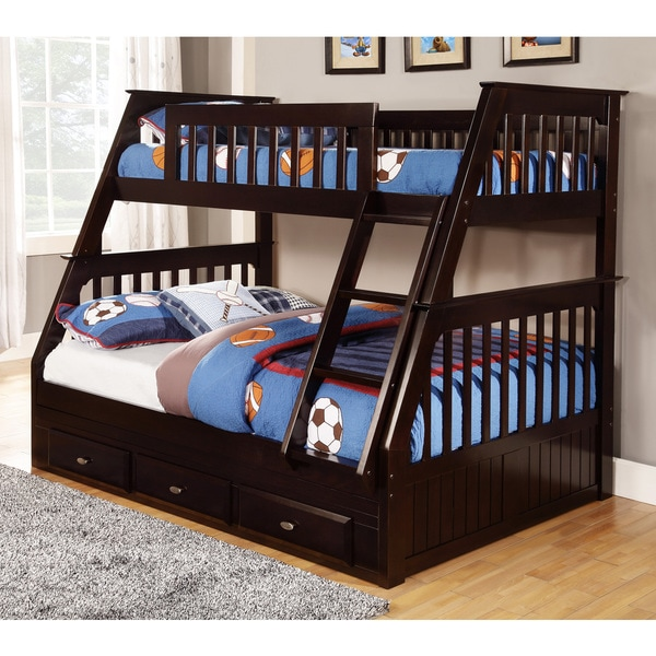 Espresso pine wood twin over full bunk bed with drawers for Matching bed and dresser