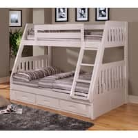 White Finish Pine Wood Twin-over-full Bunk Bed with Drawers and Matching 6-Drawer Entertainment Dresser