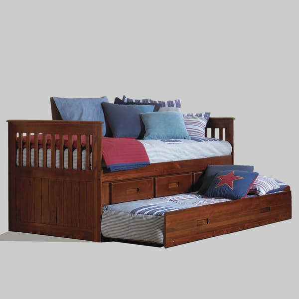 Boat Bed With Trundle And Toy Box Storage: Shop Merlot Pine/Wood Twin Rake 3-drawer Bed With Desk