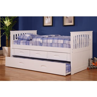 Twin Rake White Pine/Wood 3-drawer Bed with Desk, Hutch, and Chair