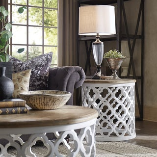 Delightful Vince Reclaimed Wood Moroccan Trellis Drum Accent Table By INSPIRE Q Artisan