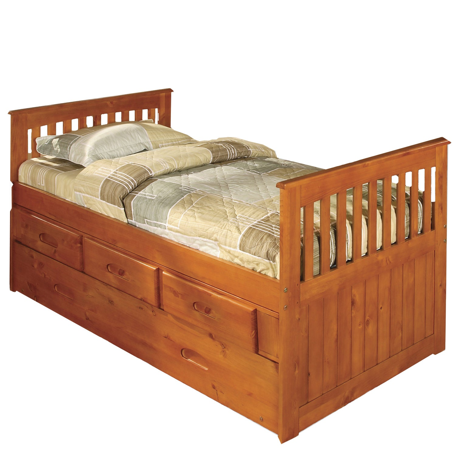 American Honey Pine Wood Three-Drawer Twin Rake Bed With ...