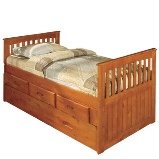 Honey Pine Wood Three-Drawer Twin Rake Bed With Matching Entertainment Dresser