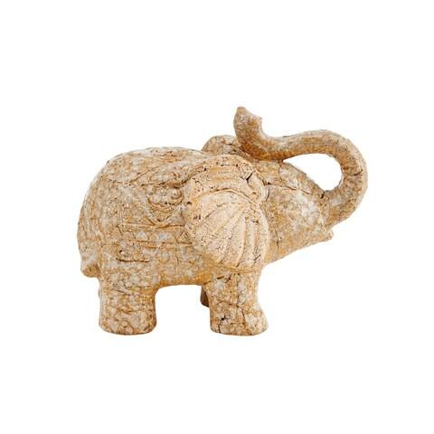 Elements Beige Ceramic 10-inch x 8-inch Elephant