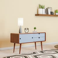 Carson Carrington Sater Wood/ White Mid-century Modern TV Console
