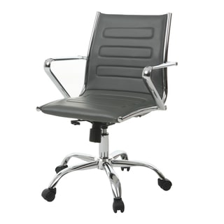 Highbore Grey/Silver Steel/Faux Leather Office Chair