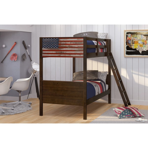 Shop Donco Kids Patriot Brown Pine Wood Twin Over Twin