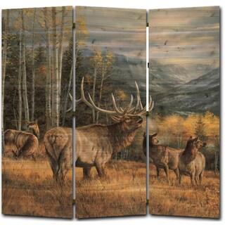WGI Gallery Meadow Music Elk Multicolor Wood 68-inch x 68-inch Room Screen