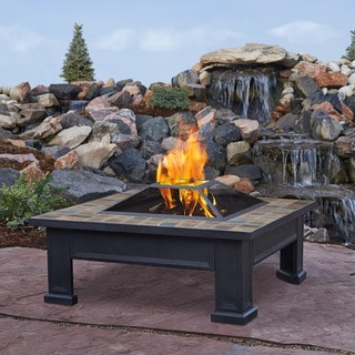 Real Flame Breckenridge Black Steel 34.4 in. L x 34.4 in. W x 18.1 in. H Fire Pit