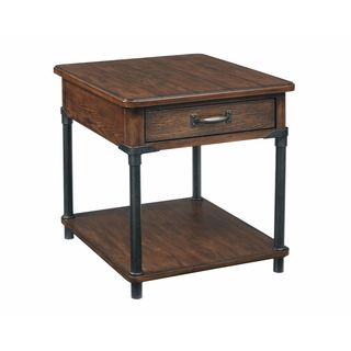 Broyhill Saluda Brown Wood with Gunmetal Accents 1-drawer End Table