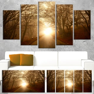Path to Sunlight in Autumn Forest - Landscape Photo Canvas Print