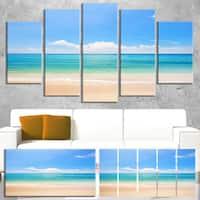 Cloudy Horizon Over Beach - Seashore Photo Canvas Print