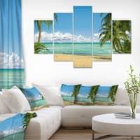 Palms at Caribbean Beach - Seashore Photo Canvas Art Print