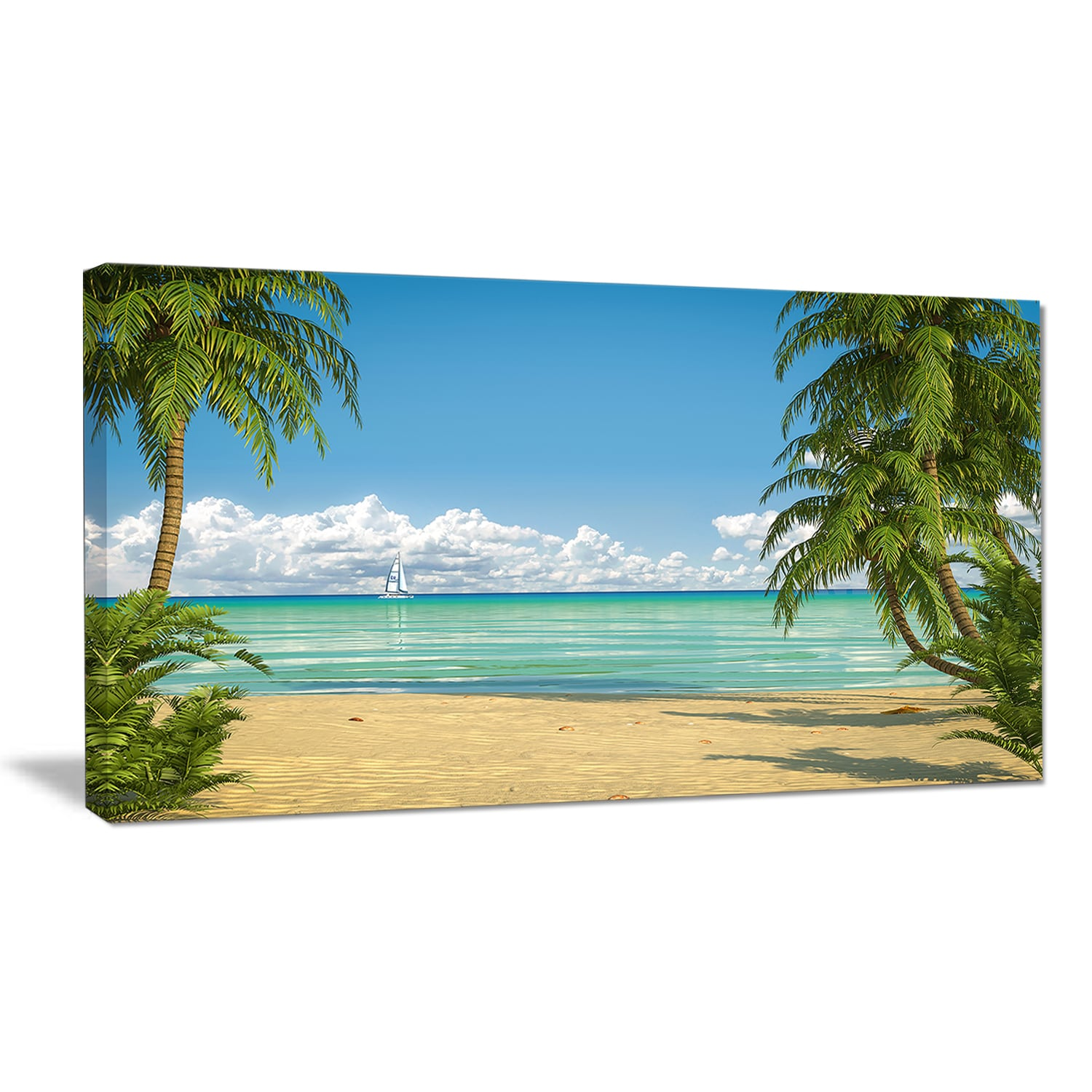 Palms-at-Caribbean-Beach-Seashore-Photo-Canvas-Art-Print-Small thumbnail 8
