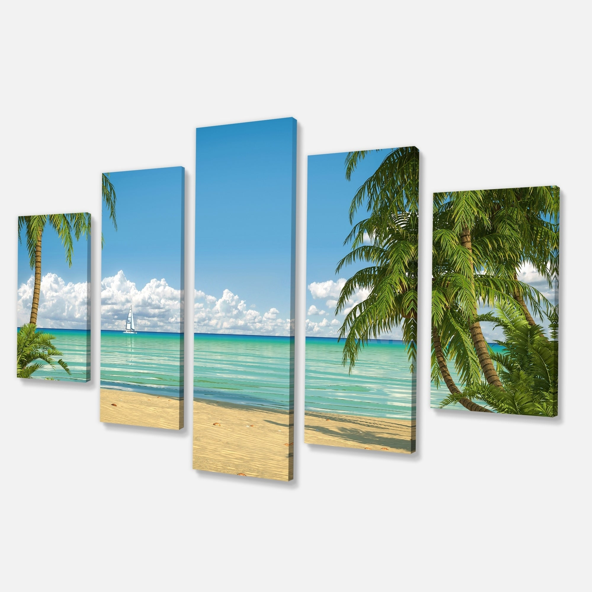 Palms-at-Caribbean-Beach-Seashore-Photo-Canvas-Art-Print-Small thumbnail 9
