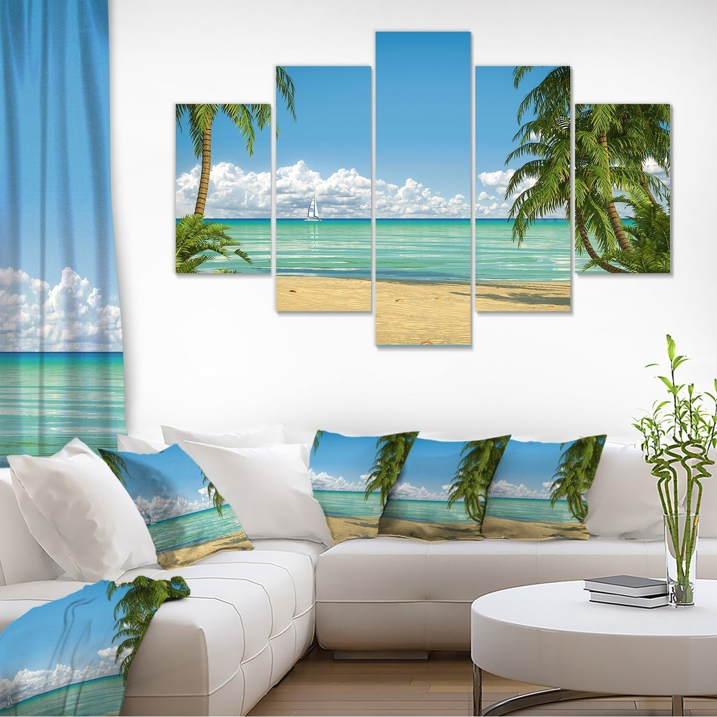 Palms-at-Caribbean-Beach-Seashore-Photo-Canvas-Art-Print-Small thumbnail 7
