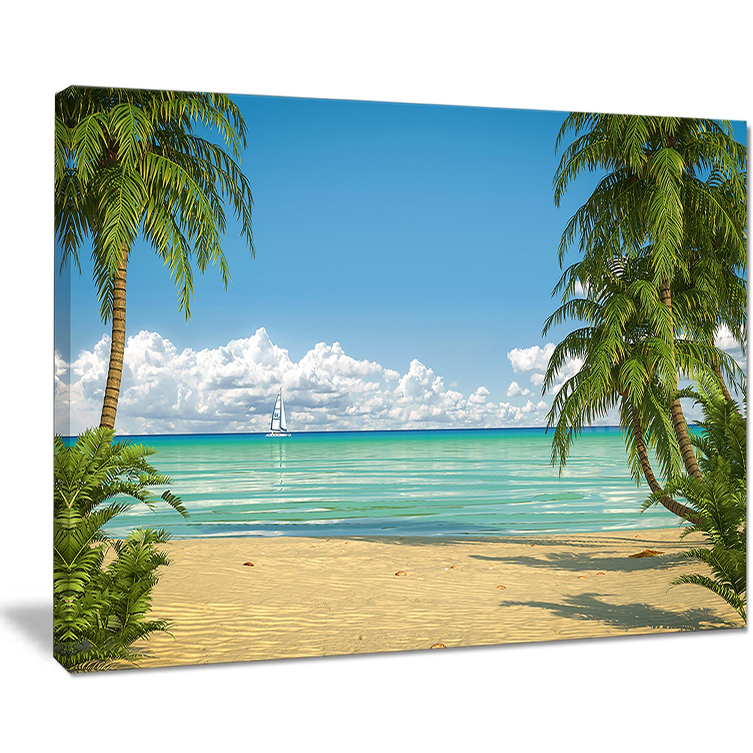 Palms-at-Caribbean-Beach-Seashore-Photo-Canvas-Art-Print-Small thumbnail 10
