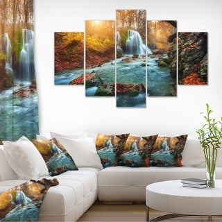 Fast Flowing Fall River in Forest - Landscape Photography Wall Art
