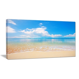 Large Clouds Over Calm Beach - Seashore Photo Canvas Print