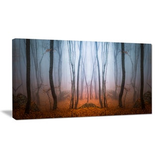 Dense Foggy Autumn Forest - Landscape Photo Canvas Art Print