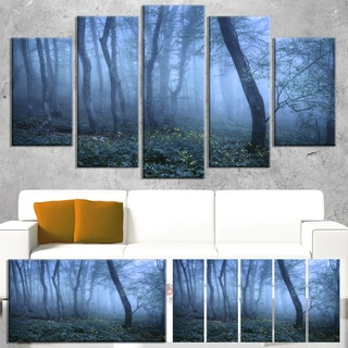 Trail Through Blue Fall Forest - Landscape Photo Canvas Art Print