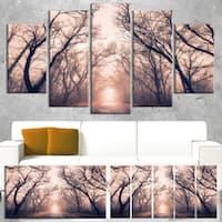 Road Through Mystical Dark Forest - Landscape Photo Canvas Print - Purple