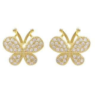 Luxiro Gold Finish Sterling Silver Cubic Zirconia Butterfly Children's Earrings