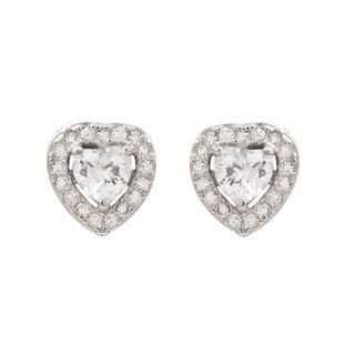 Luxiro Sterling Silver Cubic Zirconia Heart Children's Earrings
