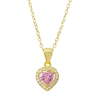 Luxiro Gold Finish Sterling Silver Cubic Zirconia Heart Children's Pendant Necklace