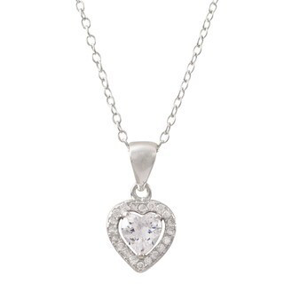 Luxiro Sterling Silver Cubic Zirconia Heart Children's Pendant Necklace - White