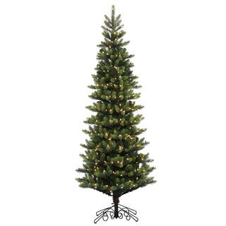 Vickerman Green Plastic 7.5-foot Royal Spruce Instant Shape Artificial Christmas Tree with 600 Warm White LED Lights