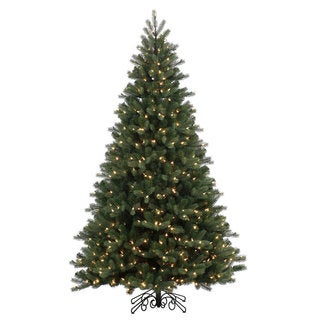 Vickerman Green Plastic 7.5-foot Noble Spruce Instant Shape Artificial Christmas Tree with 800 Warm White LED Lights