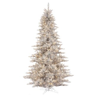 Vickerman Silver Tinsel Fir 3-foot Artificial Christmas Tree with 100 Warm White LED Lights