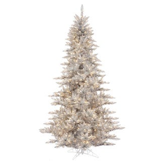 Vickerman Silver Tinsel Fir 3-foot Artificial Christmas Tree With 100 Clear Lights