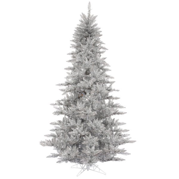 Silver Tinsel Christmas Tree With Color Wheel: Shop Vickerman Silver Plastic 3-foot Silver Tinsel Fir