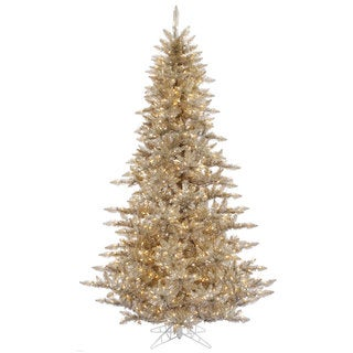 Vickerman Brown Plastic 3-foot Champagne Fir Artificial Christmas Tree with 100 Clear Lights