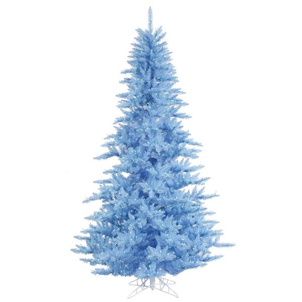 Vickerman Sky Blue PVC 3-foot Artificial Fir Christmas Tree with 100 Sky Blue LED Lights