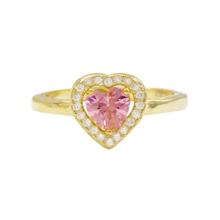 Luxiro Gold Finish Sterling Silver Pink Cubic Zirconia Heart Children's Ring