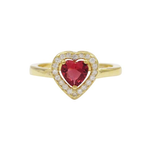Luxiro Gold Finish Sterling Silver Fuchsia Cubic Zirconia Heart Children's Ring - Pink