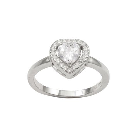 Luxiro Sterling Silver Cubic Zirconia Heart Children's Ring - White